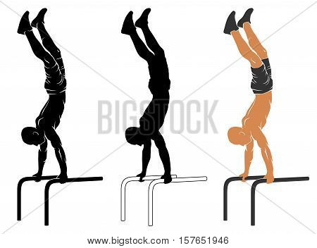 Vector illustration of man performing handstand on parallel bars