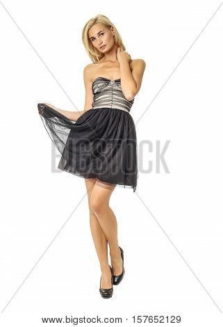 Portrait Of Flirtatious Woman In Cocktail Dress Isolated On White