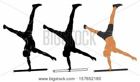 Vector illustration of man performing one-arm handstand on parallel bars