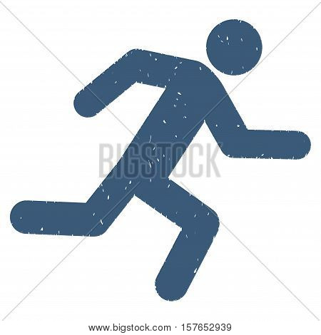 Running Man grainy textured blue icon for overlay watermark stamps. Flat symbol with scratched texture. Dotted vector ink rubber seal stamp with grunge design on a white background.