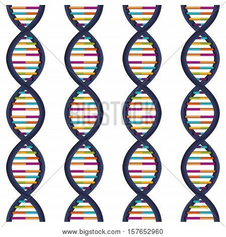 sequence DNA with bases in color vector illustration