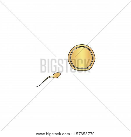 fertilization Gold vector icon with black contour line. Flat computer symbol