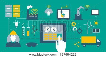 Industry 4.0 automation internet of things concepts and tablet with human machine interface