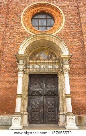 door of the Milan's famous church Santa Maria Delle Grazie, Saint Mary, hosting in it's refectory, The Last Supper mural painting by Leonardo da Vinci.