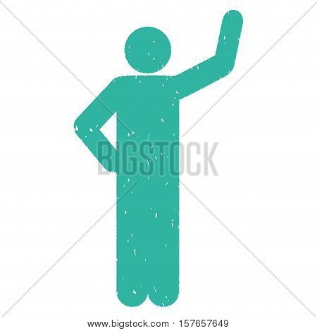Assurance Pose grainy textured cyan icon for overlay watermark stamps. Flat symbol with dust texture. Dotted vector ink rubber seal stamp with grunge design on a white background.