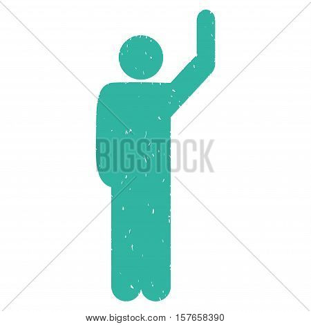 Hitchhike Pose grainy textured cyan icon for overlay watermark stamps. Flat symbol with scratched texture. Dotted vector ink rubber seal stamp with grunge design on a white background.