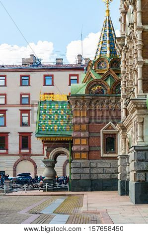 ST PETERSBURG RUSSIA-OCTOBER 3 2016. Cathedral of Our Savior on Spilled Blood in St Petersburg Russia - closeup of decorations and architecture details of the entrance porch