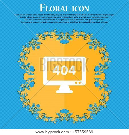 404 Not Found Error Icon Sign. Floral Flat Design On A Blue Abstract Background With Place For Your