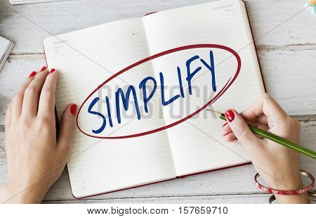 Simplify Simpleness Easy Facilitate Clarify Concept