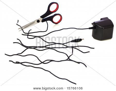 Kabel mit Schere