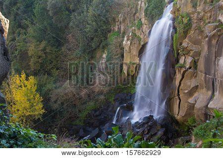 Panoramic view of Nepi waterfall in Lazio