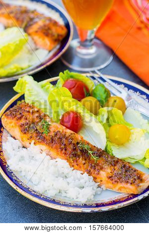 Glazed salmon with apricot jam soy sauce and mustard