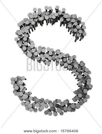 Alphabet Made From Hammered Nails, Letter S