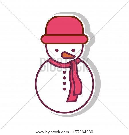 snowman with shadow and red hat vector illustration