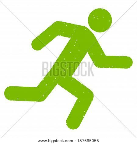 Running Man grainy textured eco green icon for overlay watermark stamps. Flat symbol with scratched texture. Dotted vector ink rubber seal stamp with grunge design on a white background.