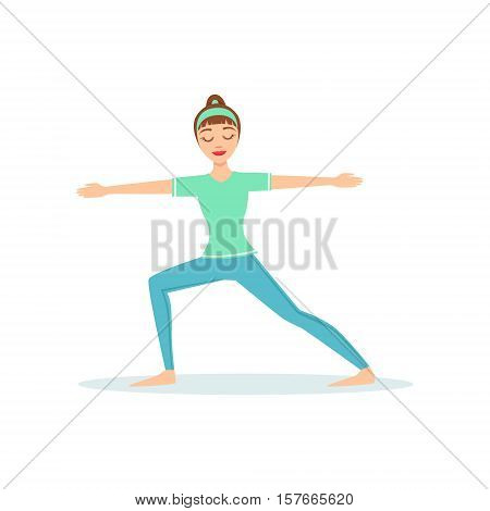 Warrior Two Virabhadrasana Yoga Pose Demonstrated By The Girl Cartoon Yogi With Ponytail In Blue Sportive Clothing Vector Illustration. Part Of Collection Of Yoga Asana Postures Drawing With Young Woman In Training Outfit
