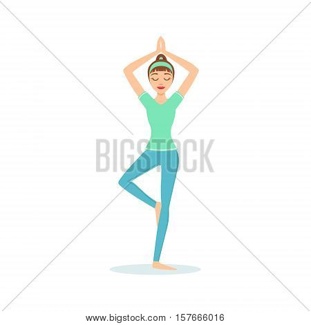 Tree Vriksasana Yoga Pose Demonstrated By The Girl Cartoon Yogi With Ponytail In Blue Sportive Clothing Vector Illustration. Part Of Collection Of Yoga Asana Postures Drawing With Young Woman In Training Outfit