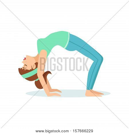 Wheel Chakrasana Yoga Pose Demonstrated By The Girl Cartoon Yogi With Ponytail In Blue Sportive Clothing Vector Illustration. Part Of Collection Of Yoga Asana Postures Drawing With Young Woman In Training Outfit