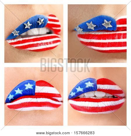 Collage of female lips with creative USA flag makeup