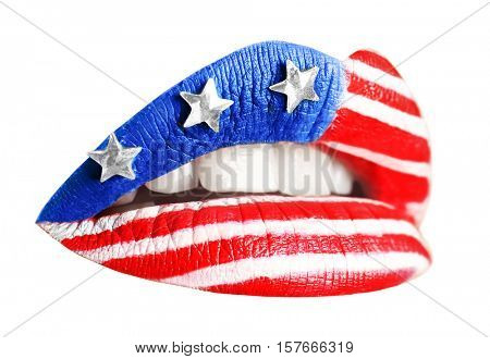 Female lips with creative USA flag makeup on white background