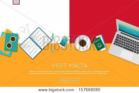 Visit Malta Concept For Your Web Banner Or Print Materials. Top View Of A Laptop, Sunglasses And Cof