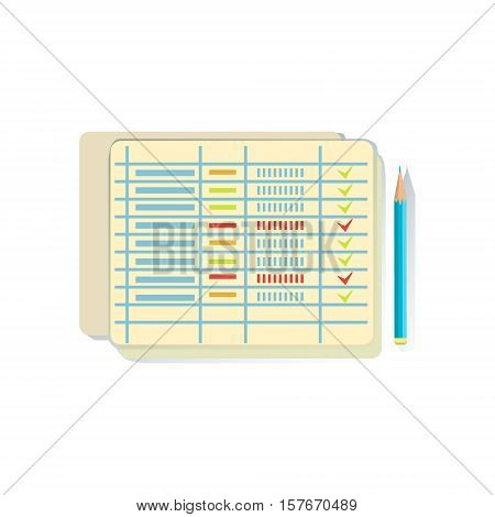 List With Ticked Lines, Task Schedule Office Worker Desk Element, Part Of Workplace Tools And Stationary Collection Of Objects. Items For Fully Equipped Working Table Vector Illustration With View From Above.
