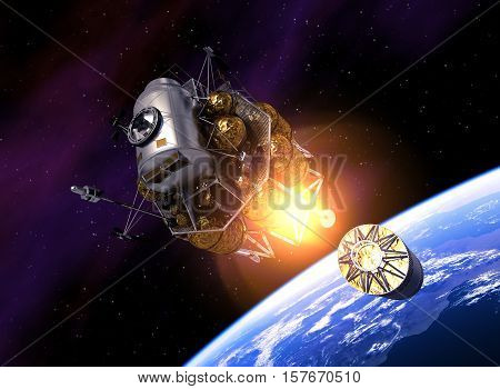 Interplanetary Space Station Launch Into Space. 3D Illustration.