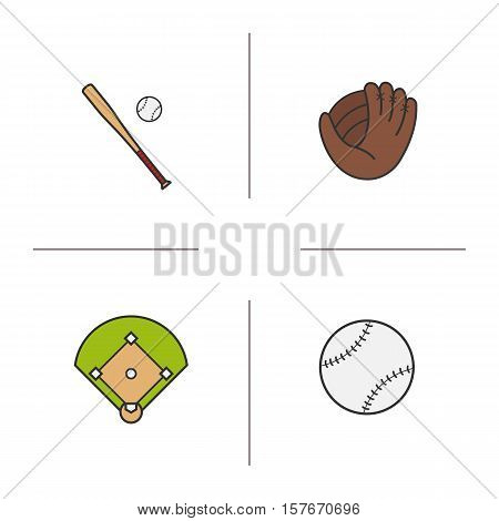 Baseball color icons set. Bat and ball, mitt, field. Softball equipment. Isolated vector illustrations