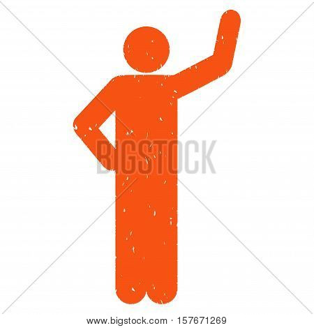 Assurance Pose grainy textured orange icon for overlay watermark stamps. Flat symbol with scratched texture. Dotted vector ink rubber seal stamp with grunge design on a white background.