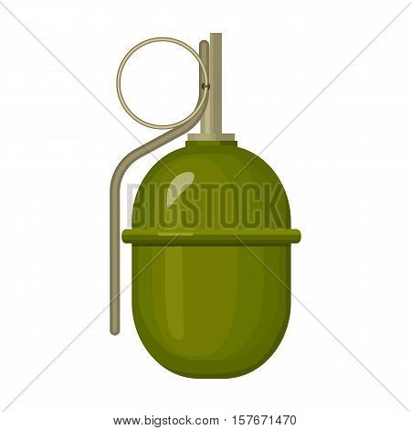 Military grenade icon in cartoon style isolated on white background. Military and army symbol vector illustration