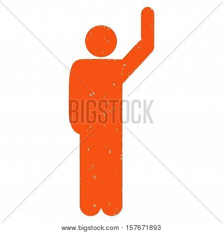 Hitchhike Pose grainy textured orange icon for overlay watermark stamps. Flat symbol with dust texture. Dotted vector ink rubber seal stamp with grunge design on a white background.