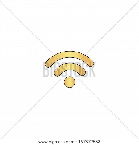 Podcast Gold vector icon with black contour line. Flat computer symbol