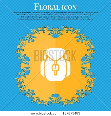 Backpack Icon Sign. Floral Flat Design On A Blue Abstract Background With Place For Your Text. Vecto