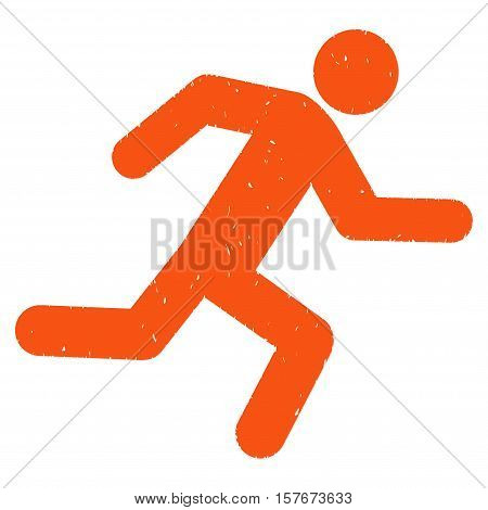 Running Man grainy textured orange icon for overlay watermark stamps. Flat symbol with dirty texture. Dotted vector ink rubber seal stamp with grunge design on a white background.