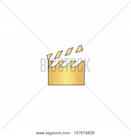 clap board Gold vector icon with black contour line. Flat computer symbol