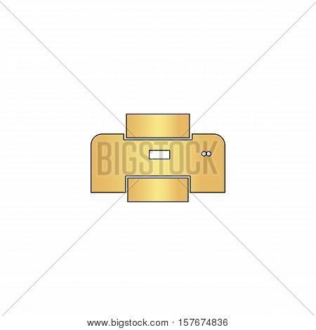 Print Gold vector icon with black contour line. Flat computer symbol