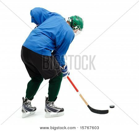 Jugador de hockey sobre hielo en azul
