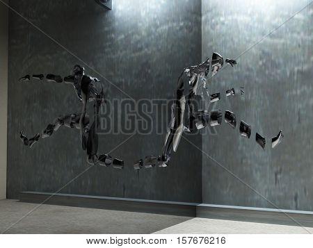 3D render. Men's figure made of metal.   3D Rendered