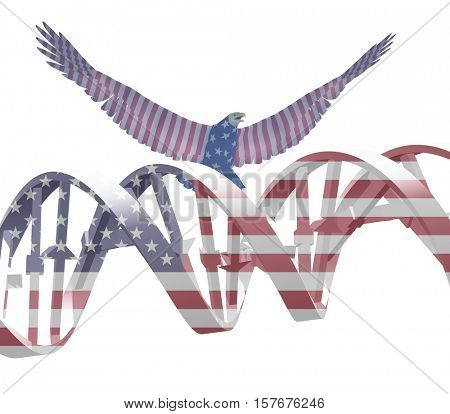 Eagle and DNA chain in national colors.   3D Rendered