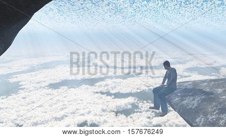 Man sitting on the edge of the cliff.   3D Rendered