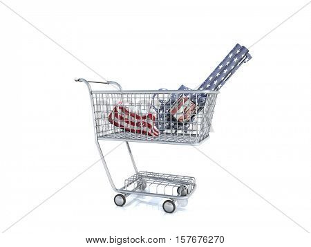 Revolver in a shopping cart.   3D Rendered