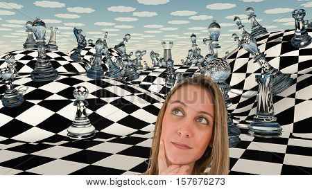 Woman thinks before chessboard.   3D Rendered