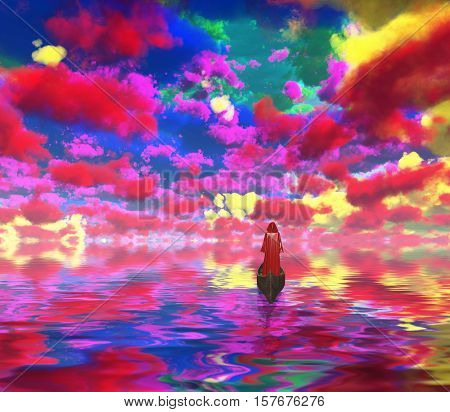 Figure in red cloak in a boat. Vivid colorful clouds are reflected in water.   3D Rendered