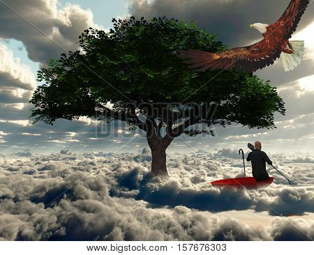 Surreal painting. Man floats in red umbrella.   3D Rendered