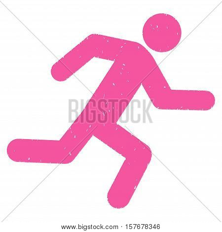 Running Man grainy textured pink icon for overlay watermark stamps. Flat symbol with dust texture. Dotted vector ink rubber seal stamp with grunge design on a white background.
