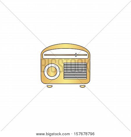 retro radio Gold vector icon with black contour line. Flat computer symbol
