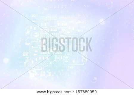 technology concept background silhouette of a computer motherboard with light blue colors. suitable as a background for business presentation