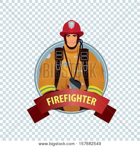 Round Icon On White Background With Firefighter