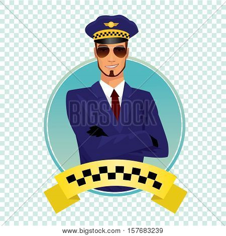 Round Icon With Stylish Shaving Taxi Driver