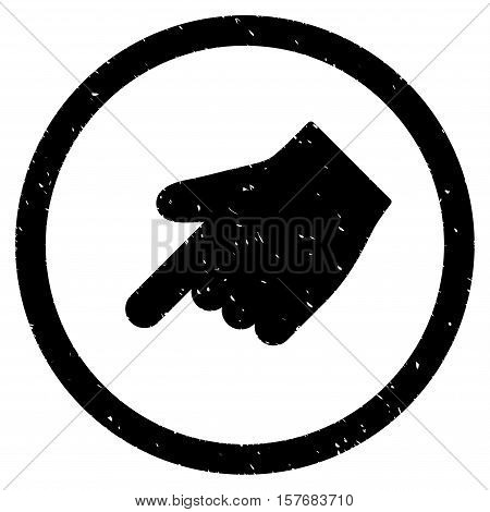 Index Finger Left Down Direction rubber seal stamp watermark. Icon vector symbol with grunge design and unclean texture. Scratched black ink emblem on a white background.